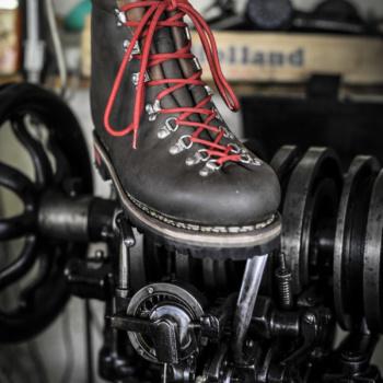 Chaussure N°3 vue de face, sur machine johnson